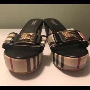 Vintage Burberry Wedge Sandals.